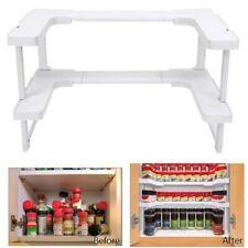 2 Layer Adjustable Cabinet Cupboard Inner Storage Rack Holder Kitchen