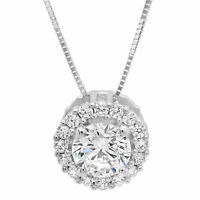 "1.50 ct Round Solitaire Halo Solid 14K White Gold Pendant Necklace +16"" Chain"