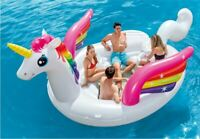 Giant Unicorn Party Island Pool Float Inflatable Lake Water 4 Person Lounge Big
