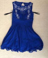 Azul Vestido Con Cuentas Talla 12 Little Mistress