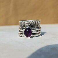 Amethyst Ring 925 Sterling Silver Spinner Ring Meditation Statement Jewelry A397