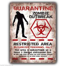 Quarantena Zombie Outbreak In Metallo Muro Firmare/Placca Retrò/Vintage Poster Art