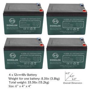 4 Pack of 12V 12Ah 6-DZM-12 Battery for Electric Go Kart Quad ATV E Bike Razor