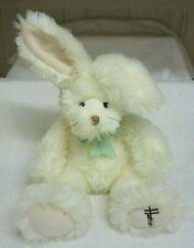 "Harrods White Bunny Rabbit w/Teal & Yellow Plaid Bow 19"" Stuffed Toy Animal"