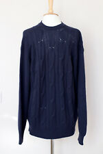 NEW! LORO PIANA navy blue 100% VICUNA cable-knit jumper sweater L IT52 UK42 FR48