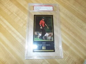 TIGER WOODS 1997-98 CHAMPIONS OF GOLF MASTERS COLLECTION PSA-6 EX MT ROOKIE RC