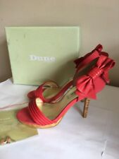 Dune Maria Leather Suede Pleat Bow Cork High Heel Shoes 6 39