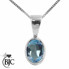 BJC® Sterling Silver Natural Blue Topaz Solitaire Drop Oval Pendant & Necklace