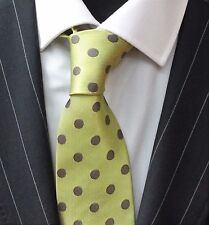Tie Neck tie with Handkerchief Lime Green With Grey Spot