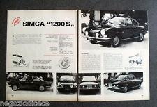 AZ32 - Clipping-Ritaglio -1967- PROVE SU STRADA , SIMCA 1200S