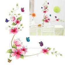 Flowers Butterfly Removable Wall paper Glass Tile Stickers Bathroom Living Decal