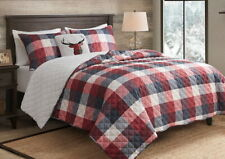 DEER HILL SHERPA PLUSH 4p King COVERLET QUILT : RED PLAID CABIN LODGE REVERSIBLE