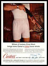 1960 Carter's Knitted Boxer Hunter In Underwear Holding Shotgun Vintage Print Ad