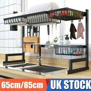 Home Dish Drying Rack Over Sink Space Saver Utensils Holder Storage w/ Hooks UK