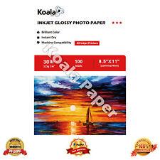 Koala 8.5x11 Premium Glossy 100 Sheets Inkjet Printer Photo Paper Canon HP 115g