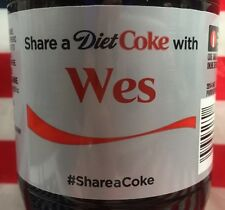 Share A Diet Coke With Wes Limited Edition Coca Cola Bottle 2015 USA