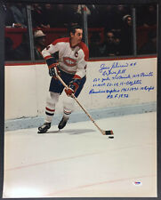 Jean Beliveau SIGNED 16x20 PHOTO +10 STAT Montreal Canadiens PSA/DNA AUTOGRAPHED