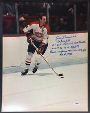 Jean Beliveau SIGNED 16x20 PHOTO +10 STAT Montreal Canadiens PSA/DNA AUTOGRAPHED