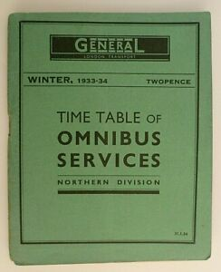 GENERAL - LONDON TRANSPORT 31/1/34 ~ NORTHERN DIVISION TIMETABLE BOOKLET