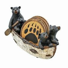 Decorative Bear Cubs Canoeing Coaster Set 4 Coasters Rustic Bar Cabin Canoe Cork