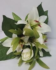 ARTIFICIAL FLOWER LILY AND ROSE BOUQUET IVORY 30CM LONG 15 STEMS