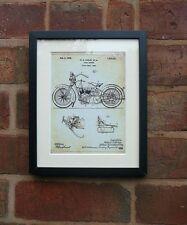 USA Patent Drawing HARLEY DAVIDSON MOTORBIKE CYCLE SUPPORT MOUNTED PRINT 1928