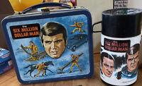 1974 Universal Studios the Six Million Dollar Man Metal Lunchbox + Thermos