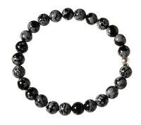 SCHNEEFLOCKEN-OBSIDIAN Edelstein-Armband Perlenarmband D569