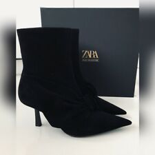 *** ZARA *** Black Suede Blue Collection Mid-Heel Ankle Boots BNWT EU 36 / 3,5UK