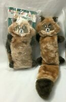 "(2) Brown RACCOON 15"" Dog Toy Zippy Paws No Stuffing Pelts Squeaky Furry"