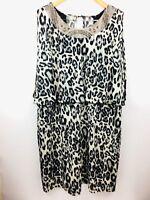 Dressbarn Womens Dress Leopard Beaded Sheath Stretch Flowy Layered Size 20