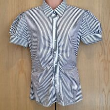 Thomas Pink Ladies Shirt Top Size 12 Slim Fit Stretch Navy White Striped Ruched