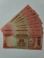 INDIA PAPER MONEY- 10 X RS 20/- OLD  NOTES UNC !!!