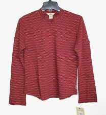 Woolrich - S - NWT - Red Striped Cotton Henley Thermal Shirt - Swirl Knit Top