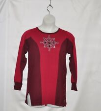 Bob Mackie Embroidered Medallion Sweater Size L Burgundy Red