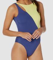 $365 Seafolly Swimwear Women Blue High-Neck Swim-Wear One-Piece Swimsuit Size 6