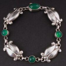 GEORG JENSEN Sterling Bracelet with Green Agate # 11, Silver, GJ Himself.