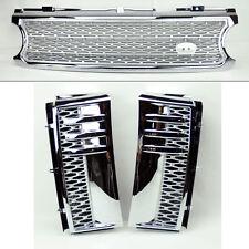 Range Rover 06-09 Mesh Chrome Sil Front Bumper Hood Grill Inc Side Fender Vents