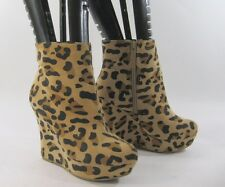 """new ladies Cheetah Print 4.5""""High Wedge Heel Round Toe Ankle Sexy Boot Size 7"""