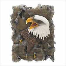 "Faux Wood Eagle Plaque, Polyresin, 6"" x 2"" x 8 1/2"" high."