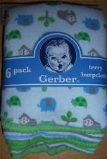 Gerber 6pk Burp Cloths, Gorilla, Elephant, Turtle, Baby Shower, Diaper Cake *