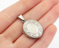 925 Sterling Silver - Vintage Floral Leaf Etched Locket Pendant (OPENS) - P13037