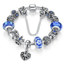 Wostu European 925 silver Charms Bracelet Chain With Beads For Christmas day