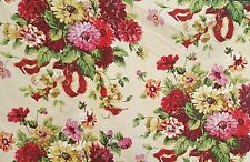 Cyrus Clark EMMA Upholstery Home Decor Fabric Floral Bouquet Red Pink Wheat BTY
