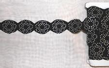 2,99€/m 1m Bügel-Borte m. Steinen Applikation Strass schwarz 28 mm samtig bügeln