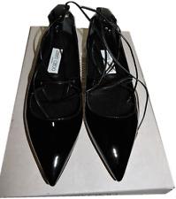 Jimmy Choo Vita Flats Lace Up Pointy Toe Ballerina Flat Lace Up  Black Shoe 37.5
