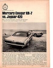 1967 MERCURY COUGAR XR-7 VS JAGUAR 420 ~ ORIGINAL 8-PG ROAD TEST / ARTICLE / AD