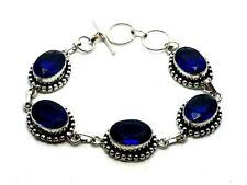"Blue Amethyst Silver Overlay Handmade Jewelry Bracelet Brand New 8"" Adjustable"