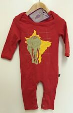 Animal Tails Ethical Organic Fair Asian Elephant print red baby Grow (3-6 m)