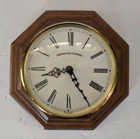 Vintage Marshall Field & Company Walnut Wall Clock Maritime Brass Glass Quartz
